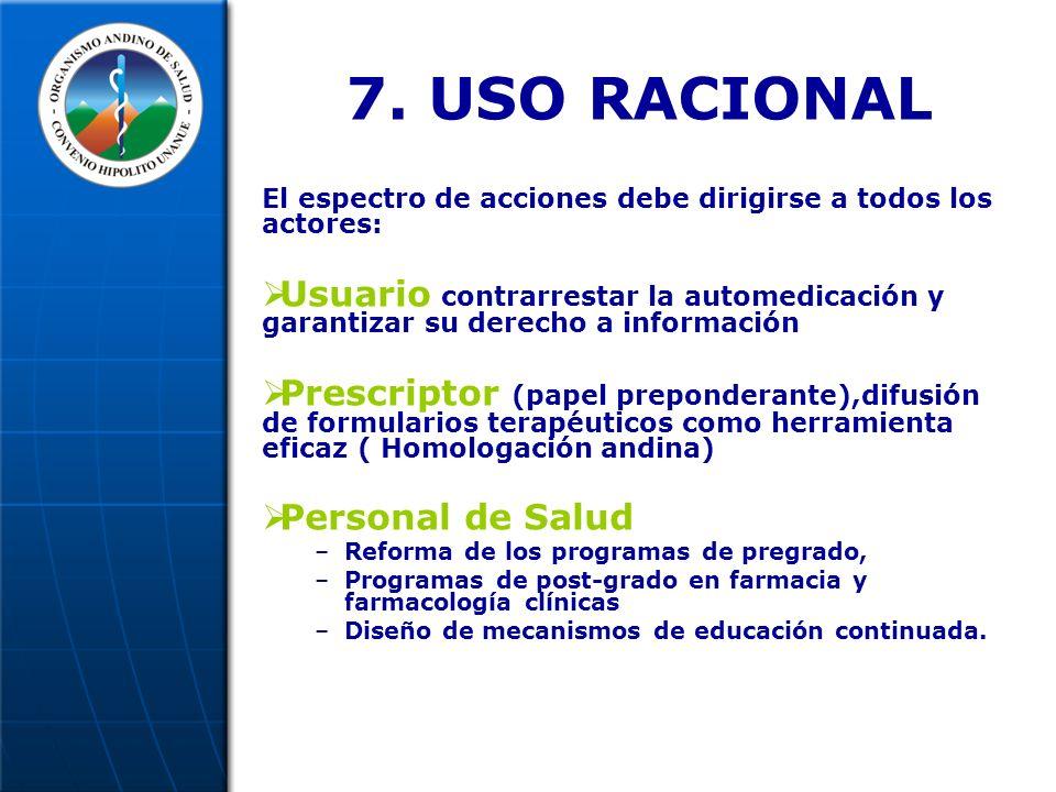 7. USO RACIONAL El espectro de acciones debe dirigirse a todos los actores: Usuario contrarrestar la automedicación y garantizar su derecho a informac