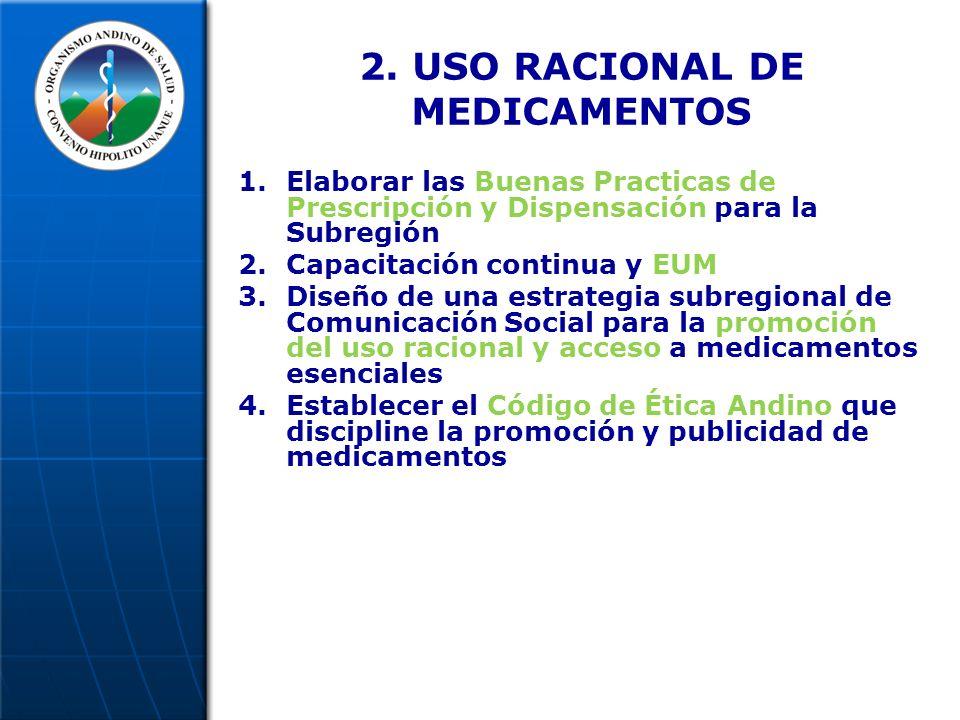 2. USO RACIONAL DE MEDICAMENTOS 1.Elaborar las Buenas Practicas de Prescripción y Dispensación para la Subregión 2.Capacitación continua y EUM 3.Diseñ