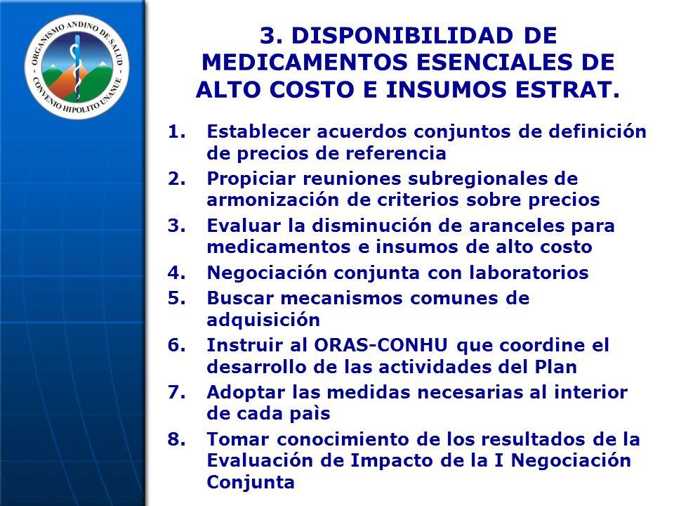 3. DISPONIBILIDAD DE MEDICAMENTOS ESENCIALES DE ALTO COSTO E INSUMOS ESTRAT.