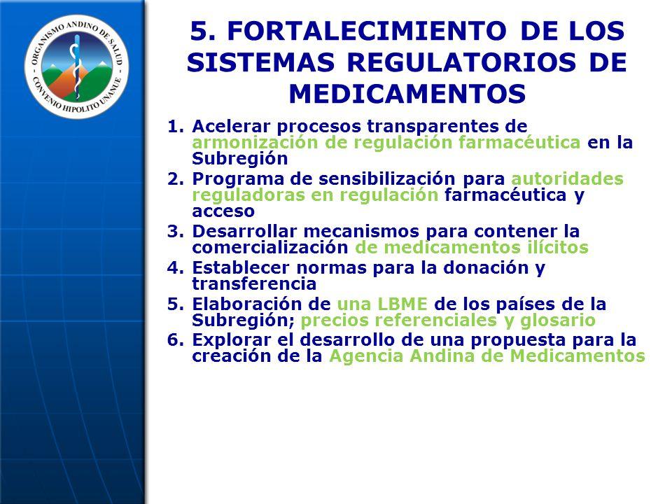 5. FORTALECIMIENTO DE LOS SISTEMAS REGULATORIOS DE MEDICAMENTOS 1.Acelerar procesos transparentes de armonización de regulación farmacéutica en la Sub