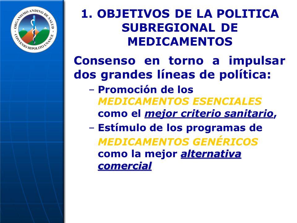 1. OBJETIVOS DE LA POLITICA SUBREGIONAL DE MEDICAMENTOS Consenso en torno a impulsar dos grandes líneas de política: –Promoción de los MEDICAMENTOS ES