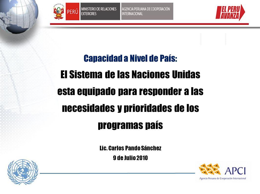 Capacidad a Nivel de País: El Sistema de las Naciones Unidas esta equipado para responder a las necesidades y prioridades de los programas país Lic. C