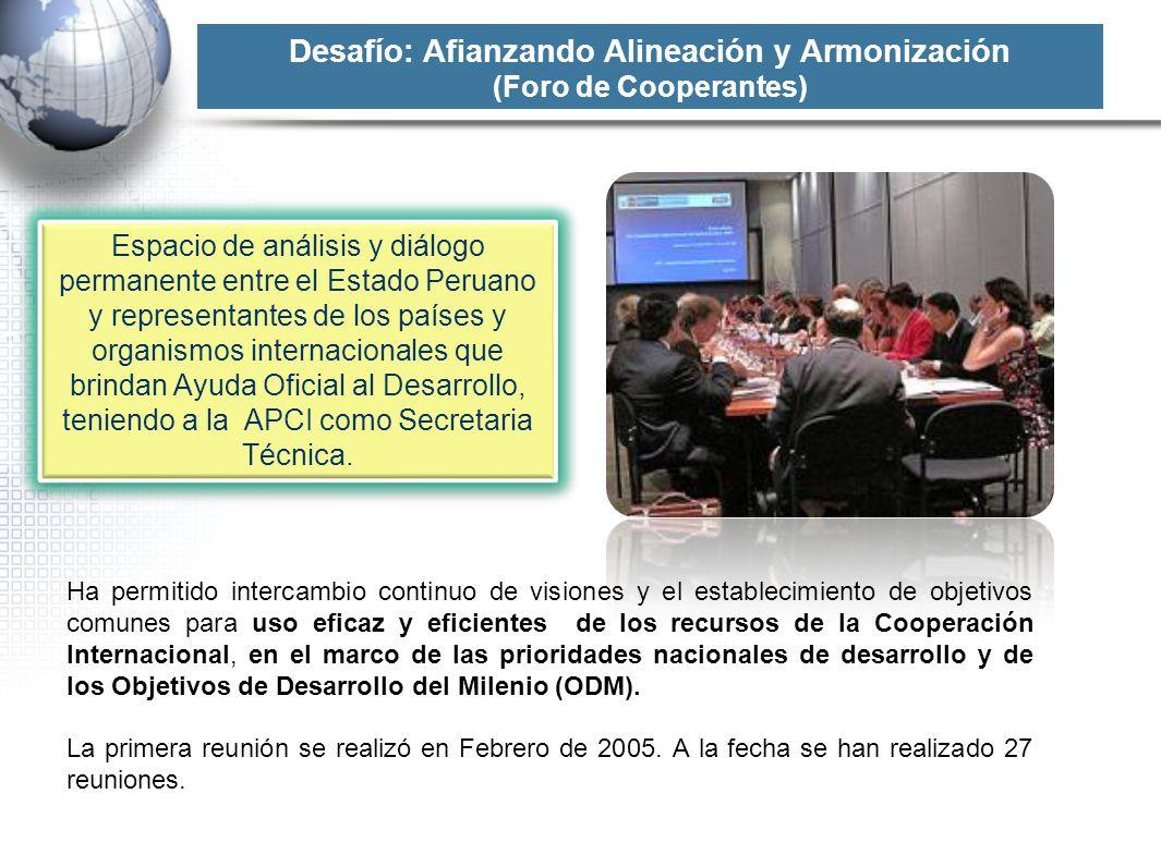 Desafío: Afianzando Alineación y Armonización (Foro de Cooperantes) Espacio de análisis y diálogo permanente entre el Estado Peruano y representantes