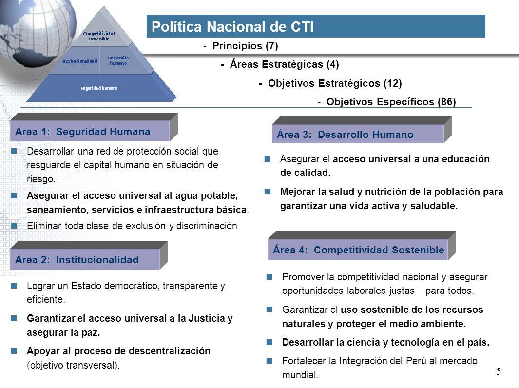- Principios (7) - Áreas Estratégicas (4) - Objetivos Estratégicos (12) - Objetivos Específicos (86) Área 1: Seguridad Humana Desarrollar una red de p