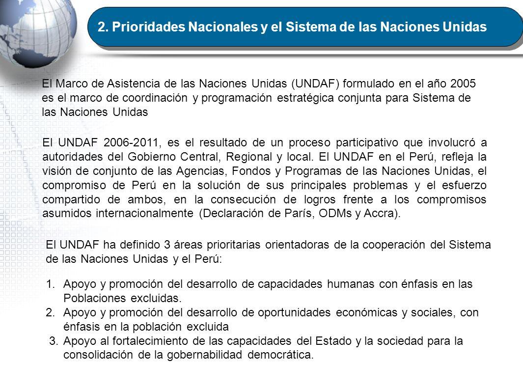 2.Prioridades Nacionales y el Sistema de las Naciones Unidas El Marco de Asistencia de las Naciones Unidas (UNDAF) formulado en el año 2005 es el marc