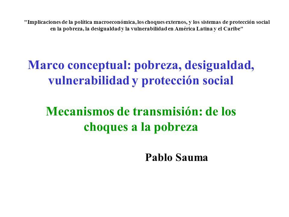 Marco conceptual: pobreza, desigualdad, vulnerabilidad y protección social Mecanismos de transmisión: de los choques a la pobreza Pablo Sauma