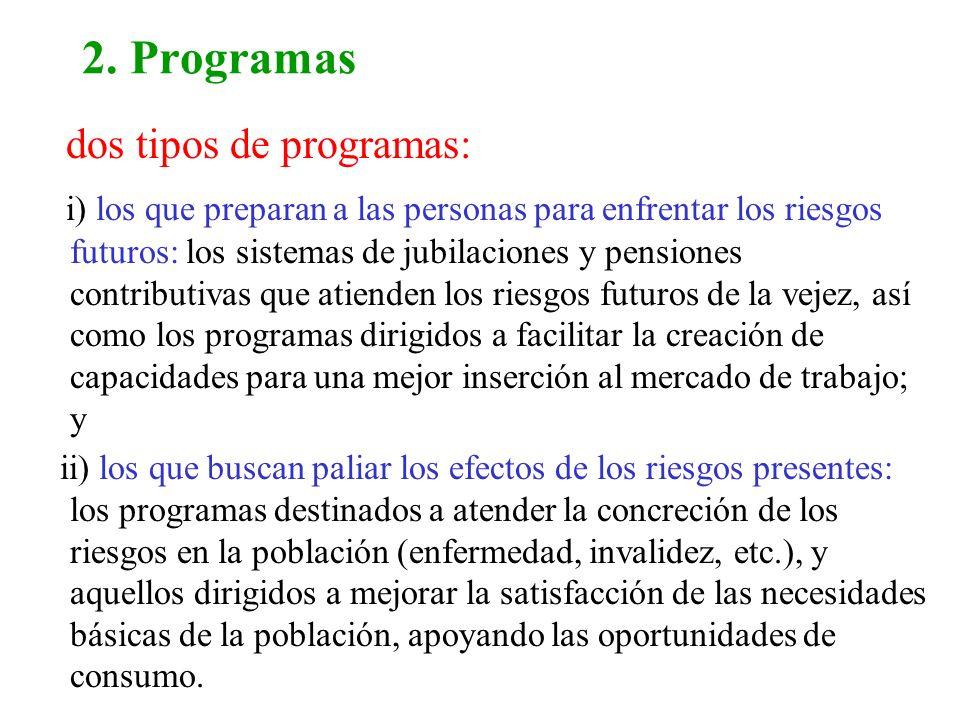 2. Programas dos tipos de programas: i) los que preparan a las personas para enfrentar los riesgos futuros: los sistemas de jubilaciones y pensiones c