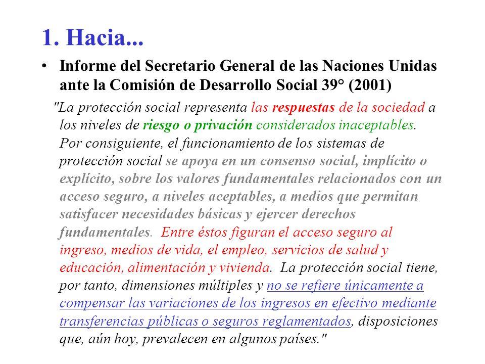 1. Hacia... Informe del Secretario General de las Naciones Unidas ante la Comisión de Desarrollo Social 39° (2001)