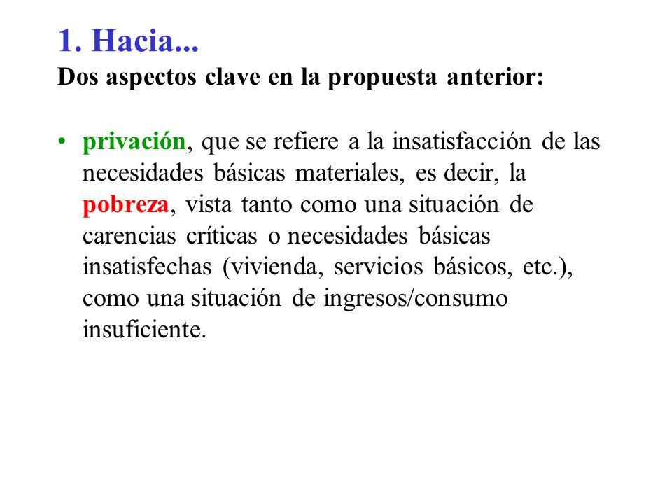 1. Hacia... Dos aspectos clave en la propuesta anterior: privación, que se refiere a la insatisfacción de las necesidades básicas materiales, es decir