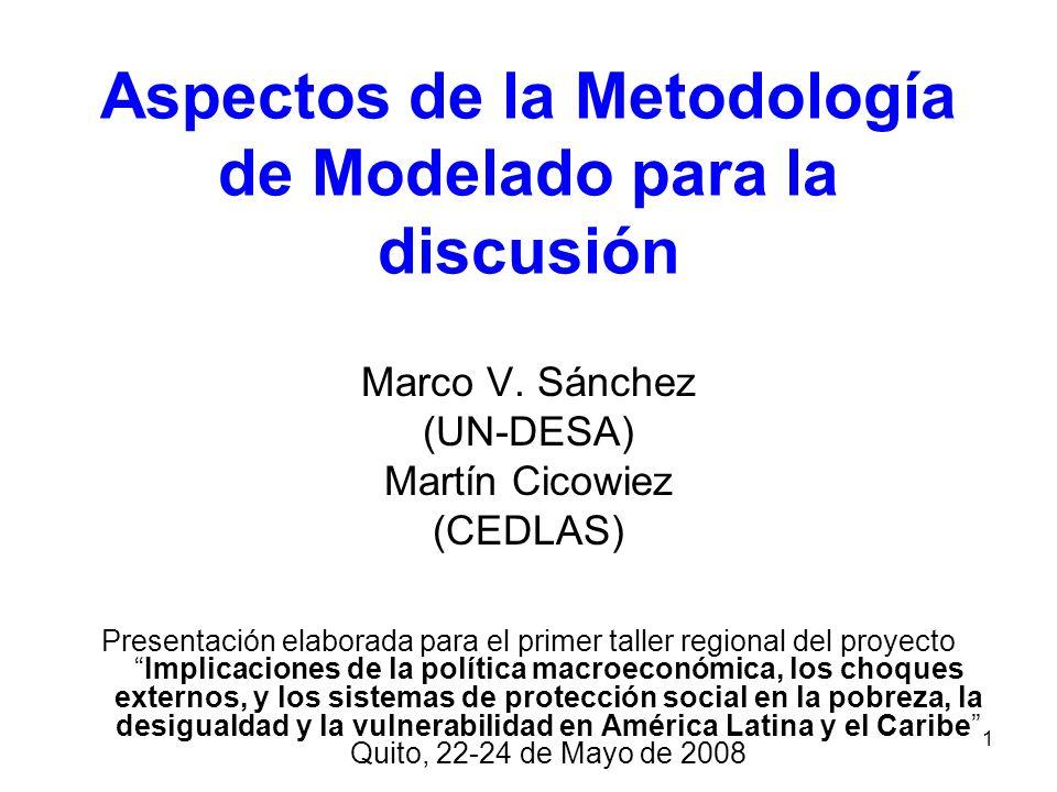 1 Aspectos de la Metodología de Modelado para la discusión Marco V. Sánchez (UN-DESA) Martín Cicowiez (CEDLAS) Presentación elaborada para el primer t