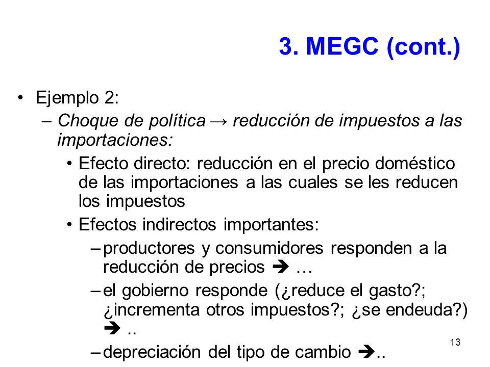 13 3. MEGC (cont.) Ejemplo 2: –Choque de política reducción de impuestos a las importaciones: Efecto directo: reducción en el precio doméstico de las