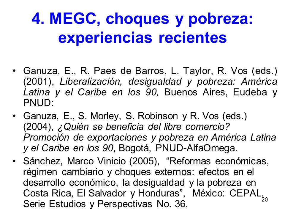 20 4. MEGC, choques y pobreza: experiencias recientes Ganuza, E., R. Paes de Barros, L. Taylor, R. Vos (eds.) (2001), Liberalización, desigualdad y po