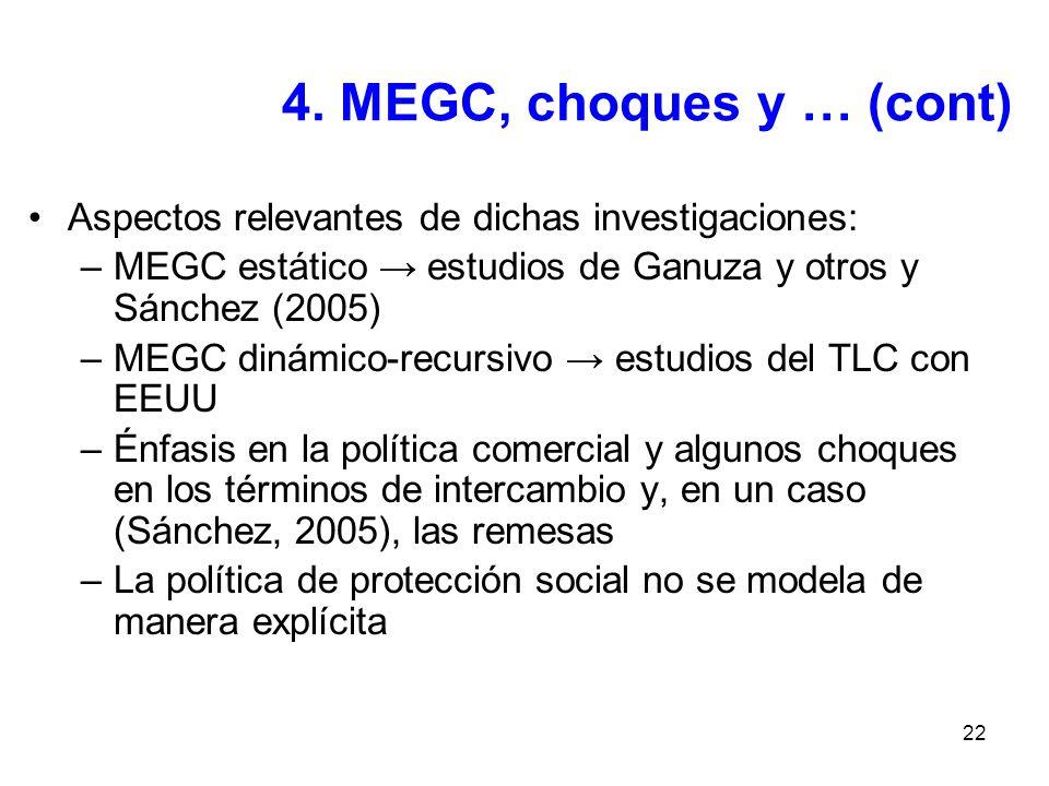 22 4. MEGC, choques y … (cont) Aspectos relevantes de dichas investigaciones: –MEGC estático estudios de Ganuza y otros y Sánchez (2005) –MEGC dinámic