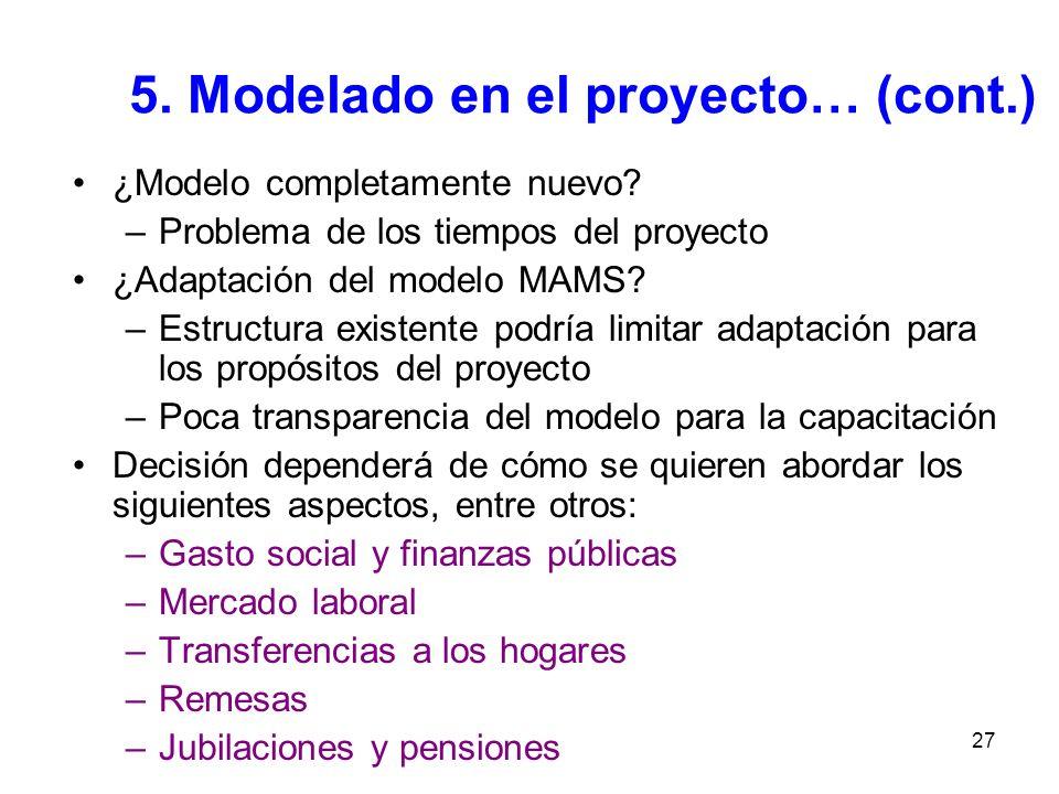 27 5. Modelado en el proyecto… (cont.) ¿Modelo completamente nuevo? –Problema de los tiempos del proyecto ¿Adaptación del modelo MAMS? –Estructura exi
