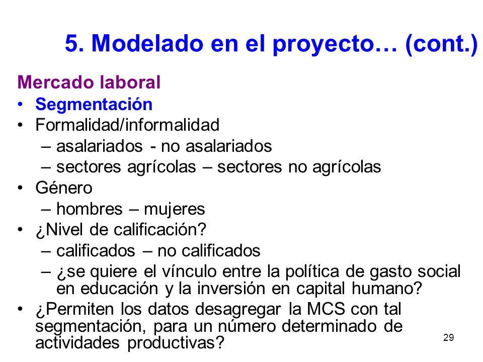 29 5. Modelado en el proyecto… (cont.) Mercado laboral Segmentación Formalidad/informalidad –asalariados - no asalariados –sectores agrícolas – sector