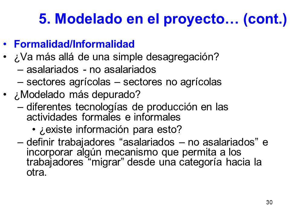 30 5. Modelado en el proyecto… (cont.) Formalidad/Informalidad ¿Va más allá de una simple desagregación? –asalariados - no asalariados –sectores agríc