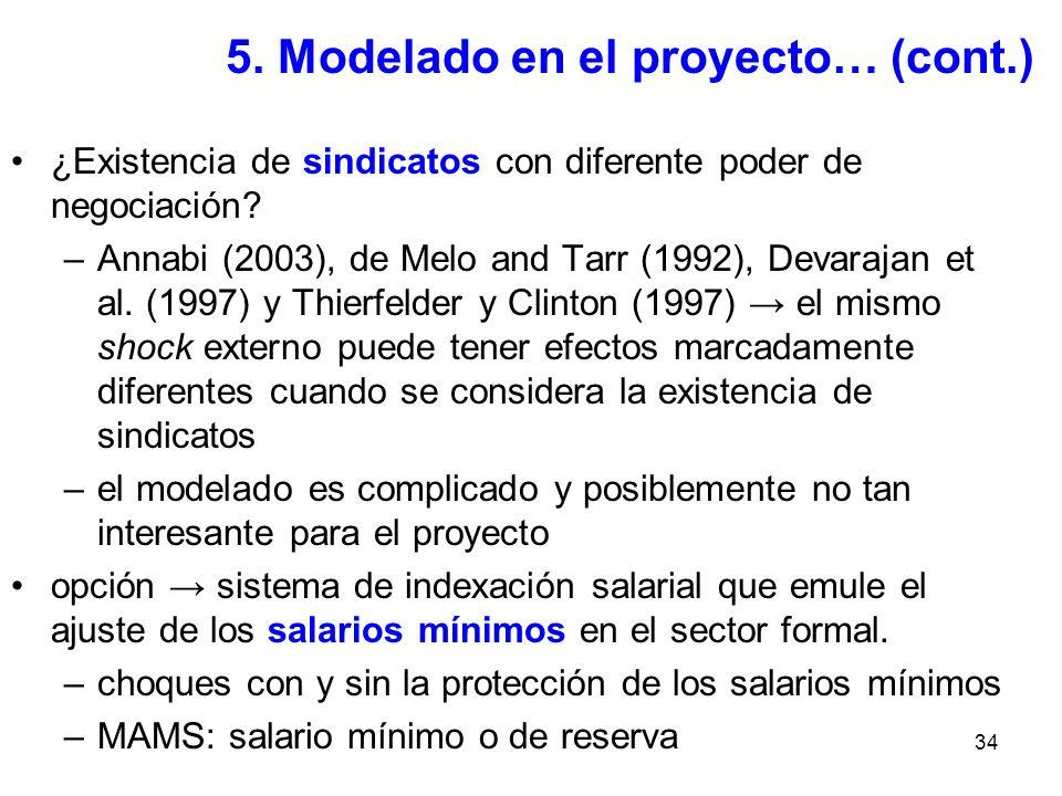 34 5. Modelado en el proyecto… (cont.) ¿Existencia de sindicatos con diferente poder de negociación? –Annabi (2003), de Melo and Tarr (1992), Devaraja