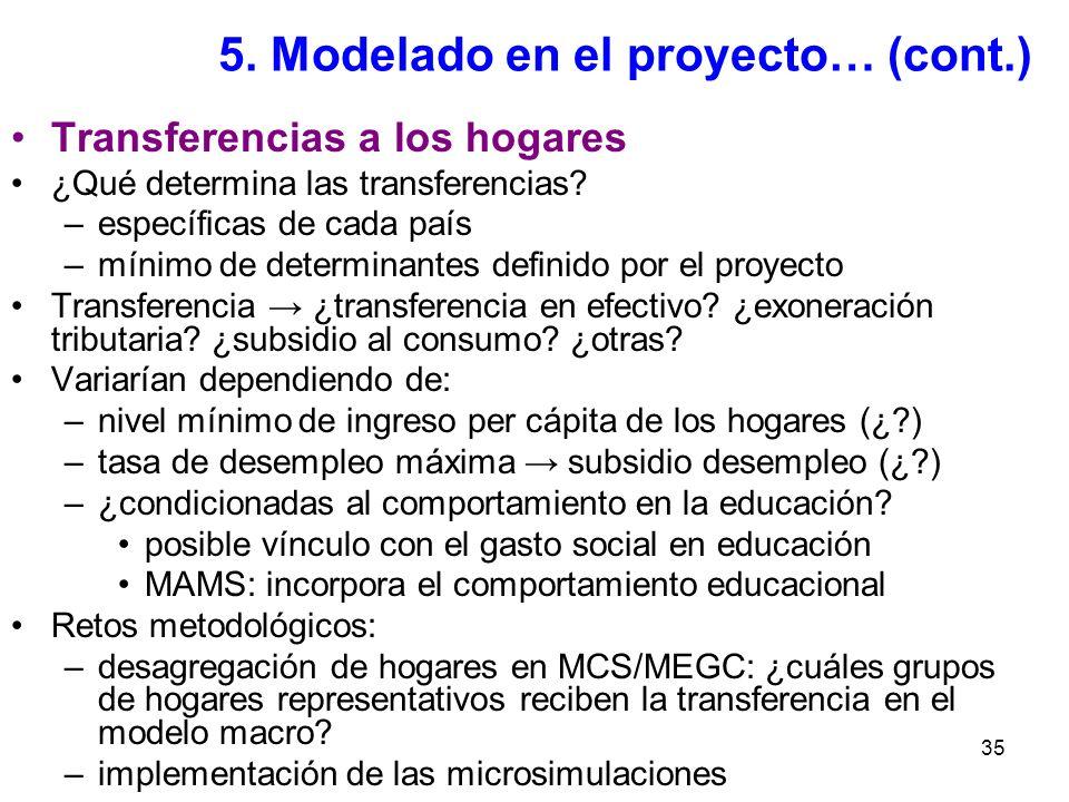35 5. Modelado en el proyecto… (cont.) Transferencias a los hogares ¿Qué determina las transferencias? –específicas de cada país –mínimo de determinan