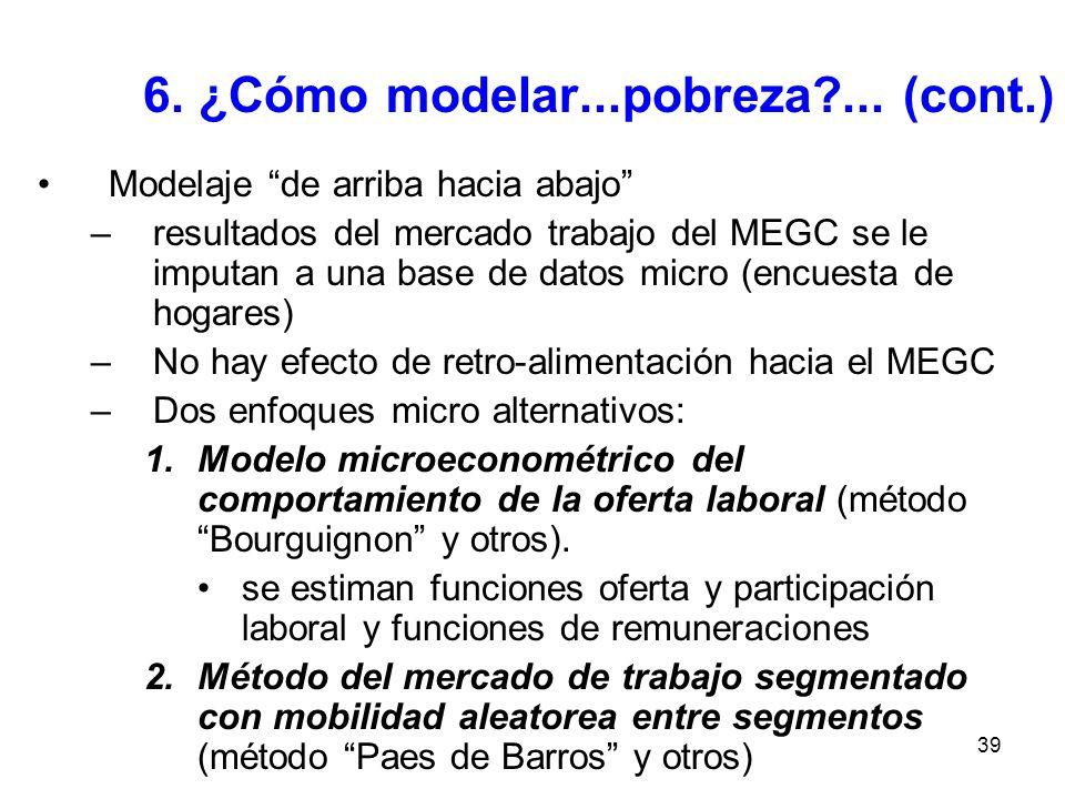 39 6. ¿Cómo modelar...pobreza?... (cont.) Modelaje de arriba hacia abajo –resultados del mercado trabajo del MEGC se le imputan a una base de datos mi