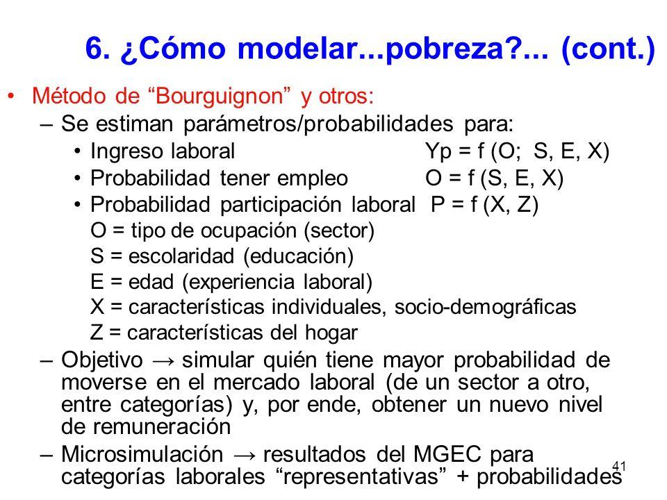 41 6. ¿Cómo modelar...pobreza?... (cont.) Método de Bourguignon y otros: –Se estiman parámetros/probabilidades para: Ingreso laboral Yp = f (O; S, E,