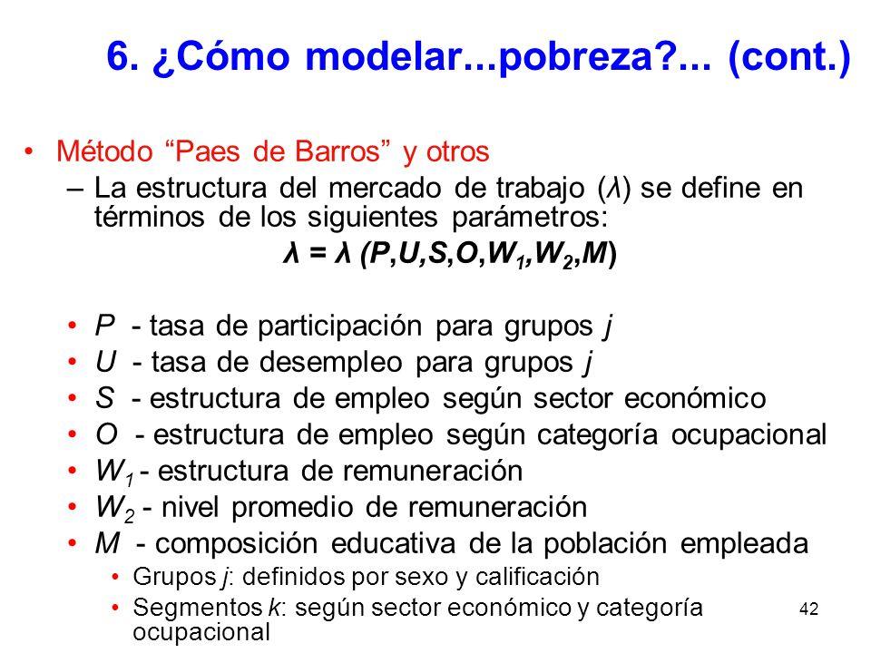 42 6. ¿Cómo modelar...pobreza?... (cont.) Método Paes de Barros y otros –La estructura del mercado de trabajo (λ) se define en términos de los siguien
