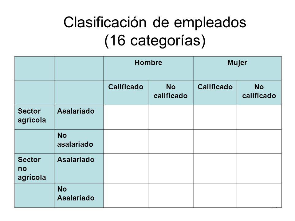 44 Clasificación de empleados (16 categorías) HombreMujer CalificadoNo calificado CalificadoNo calificado Sector agrícola Asalariado No asalariado Sec
