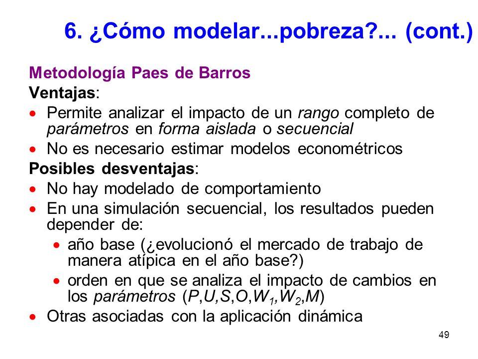 49 6. ¿Cómo modelar...pobreza?... (cont.) Metodología Paes de Barros Ventajas: Permite analizar el impacto de un rango completo de parámetros en forma