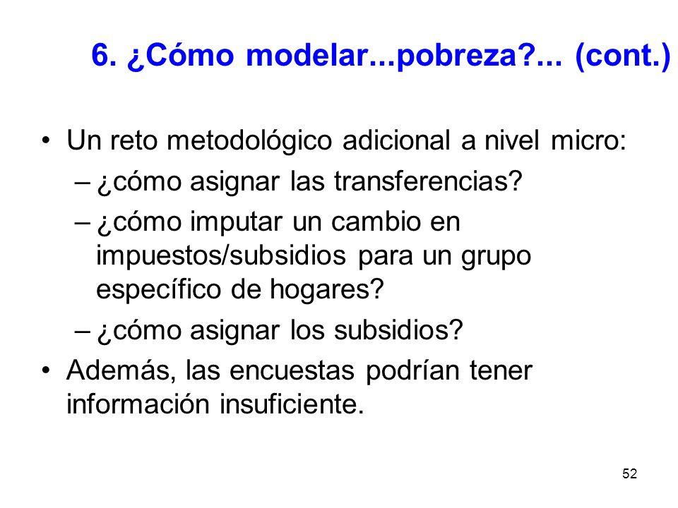 52 6. ¿Cómo modelar...pobreza?... (cont.) Un reto metodológico adicional a nivel micro: –¿cómo asignar las transferencias? –¿cómo imputar un cambio en