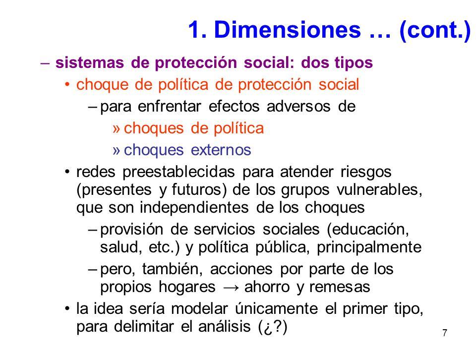7 –sistemas de protección social: dos tipos choque de política de protección social –para enfrentar efectos adversos de »choques de política »choques