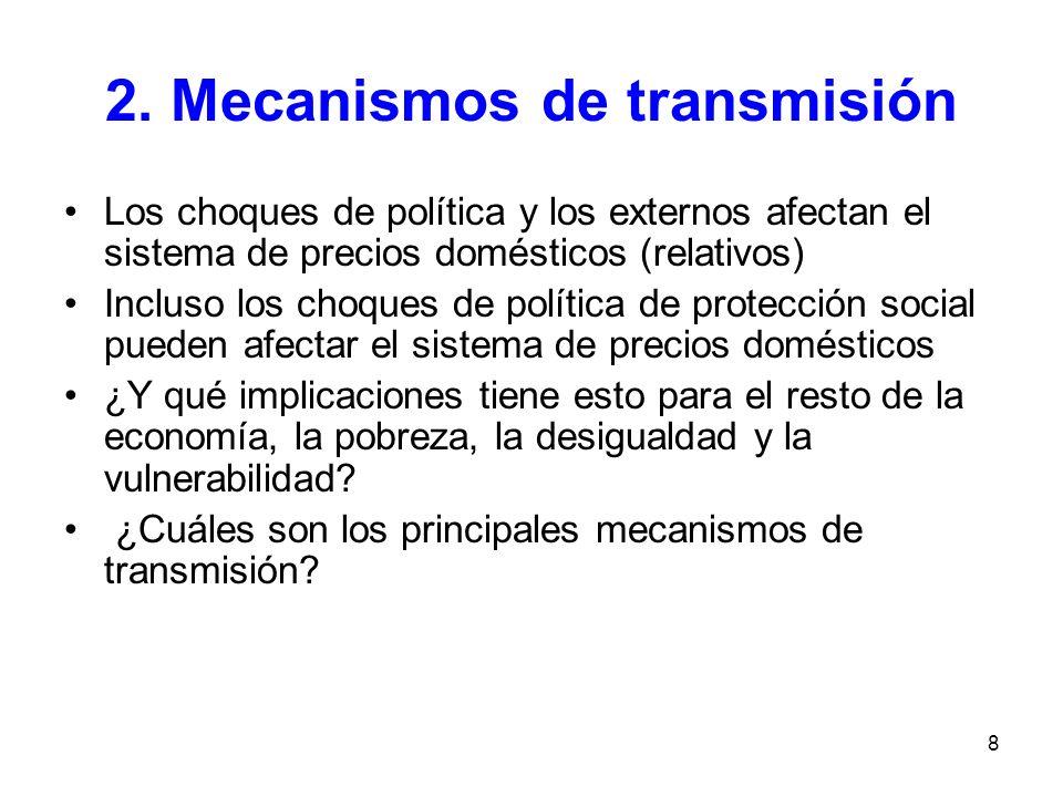 8 2. Mecanismos de transmisión Los choques de política y los externos afectan el sistema de precios domésticos (relativos) Incluso los choques de polí