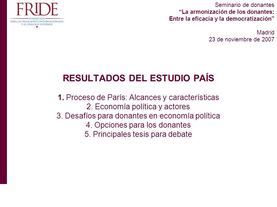 Seminario de donantes La armonización de los donantes: Entre la eficacia y la democratización Madrid 23 de noviembre de 2007 RESULTADOS DEL ESTUDIO PAÍS 1.