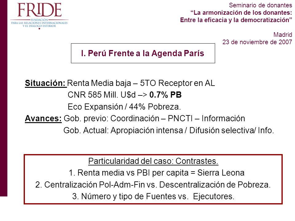 Seminario de donantes La armonización de los donantes: Entre la eficacia y la democratización Madrid 23 de noviembre de 2007 Situación: Renta Media baja – 5TO Receptor en AL CNR 585 Mill.