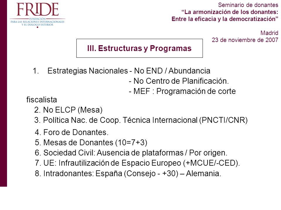 Seminario de donantes La armonización de los donantes: Entre la eficacia y la democratización Madrid 23 de noviembre de 2007 III.