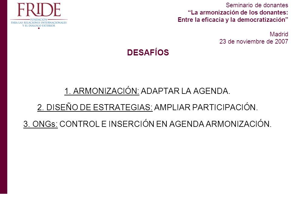 Seminario de donantes La armonización de los donantes: Entre la eficacia y la democratización Madrid 23 de noviembre de 2007 1.