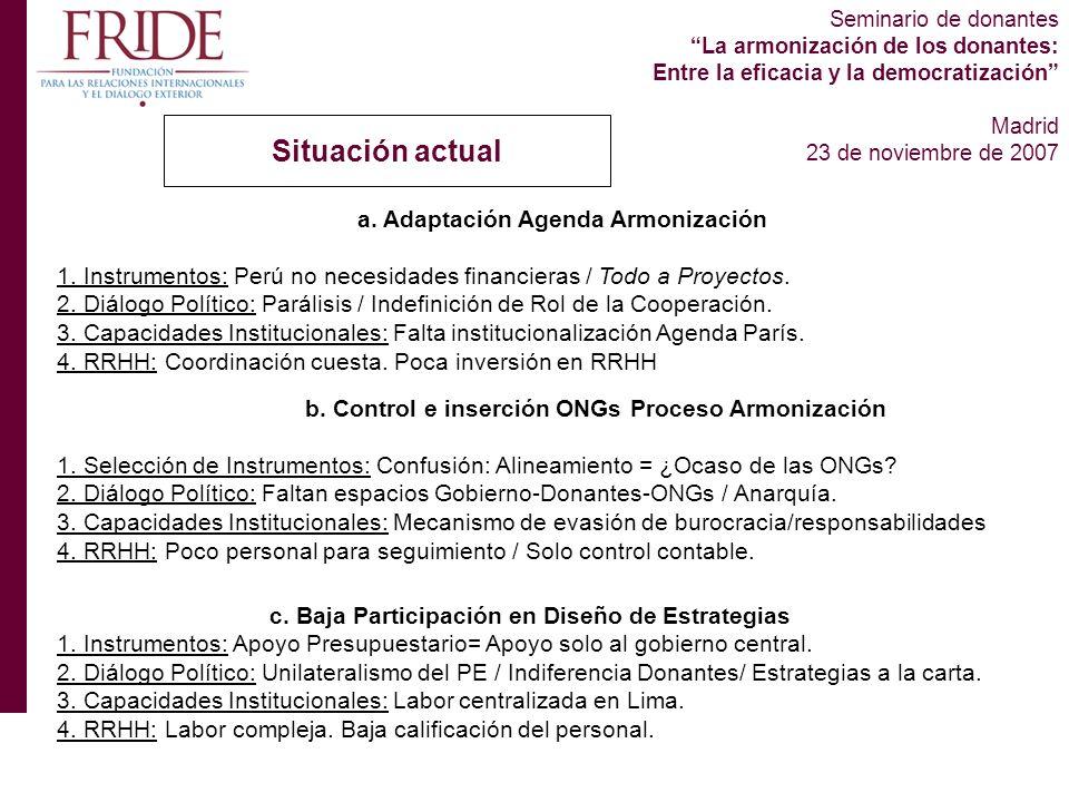 Seminario de donantes La armonización de los donantes: Entre la eficacia y la democratización Madrid 23 de noviembre de 2007 Situación actual a.