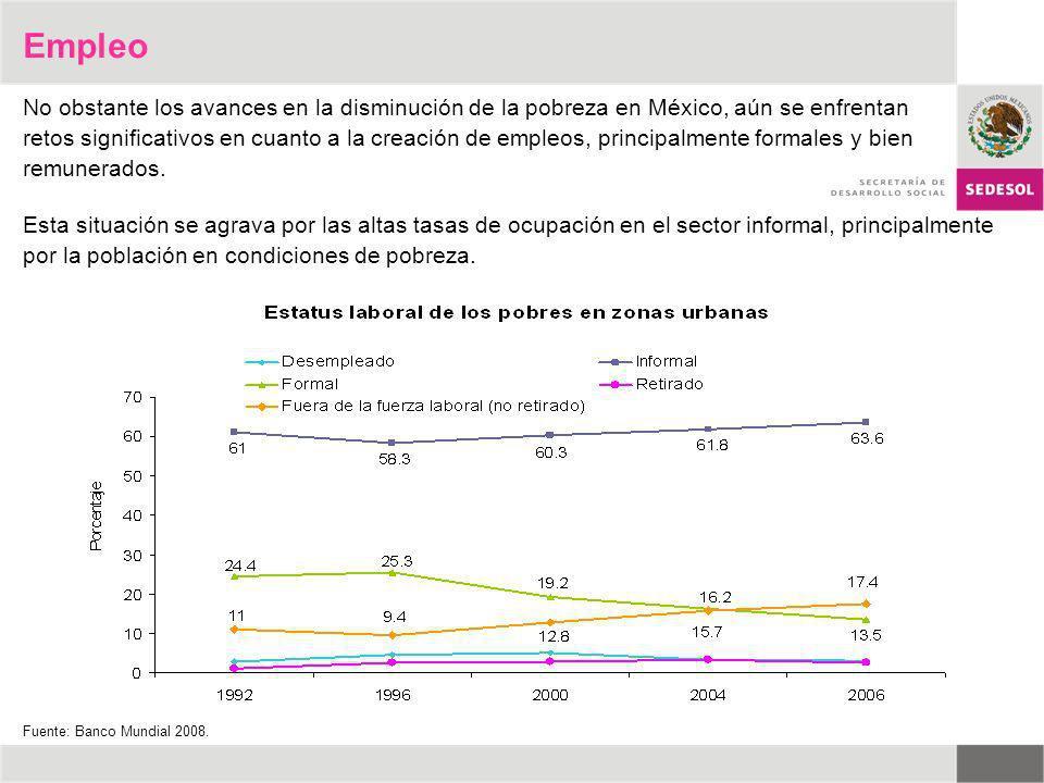 No obstante los avances en la disminución de la pobreza en México, aún se enfrentan retos significativos en cuanto a la creación de empleos, principal