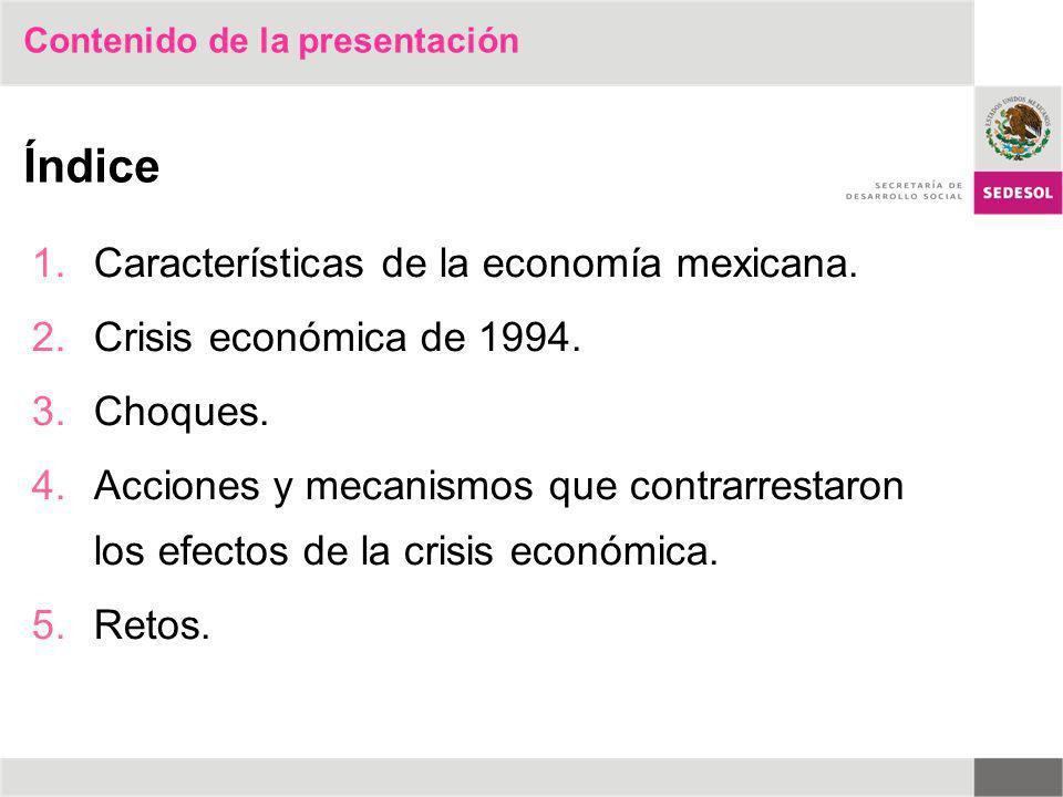 Contenido de la presentación 1.Características de la economía mexicana. 2.Crisis económica de 1994. 3.Choques. 4.Acciones y mecanismos que contrarrest