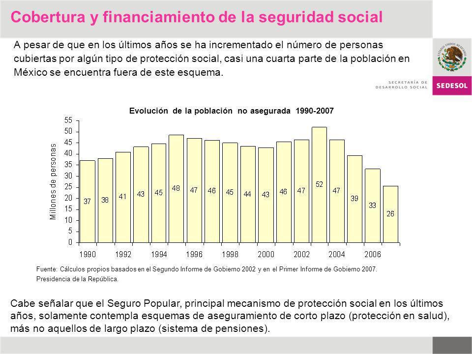 A pesar de que en los últimos años se ha incrementado el número de personas cubiertas por algún tipo de protección social, casi una cuarta parte de la
