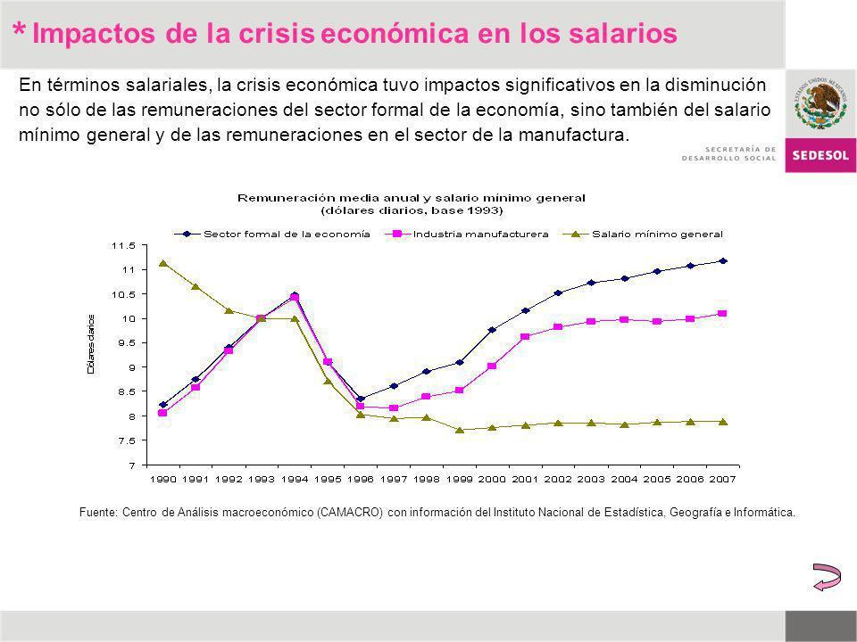 * En términos salariales, la crisis económica tuvo impactos significativos en la disminución no sólo de las remuneraciones del sector formal de la eco