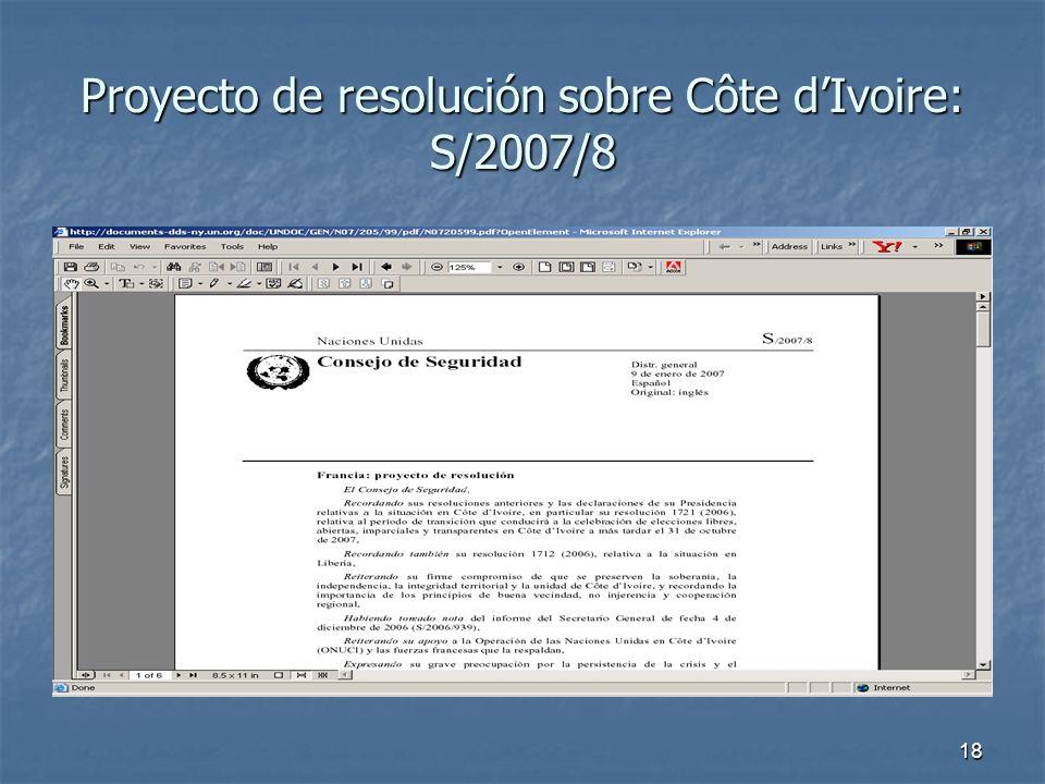 18 Proyecto de resolución sobre Côte dIvoire: S/2007/8