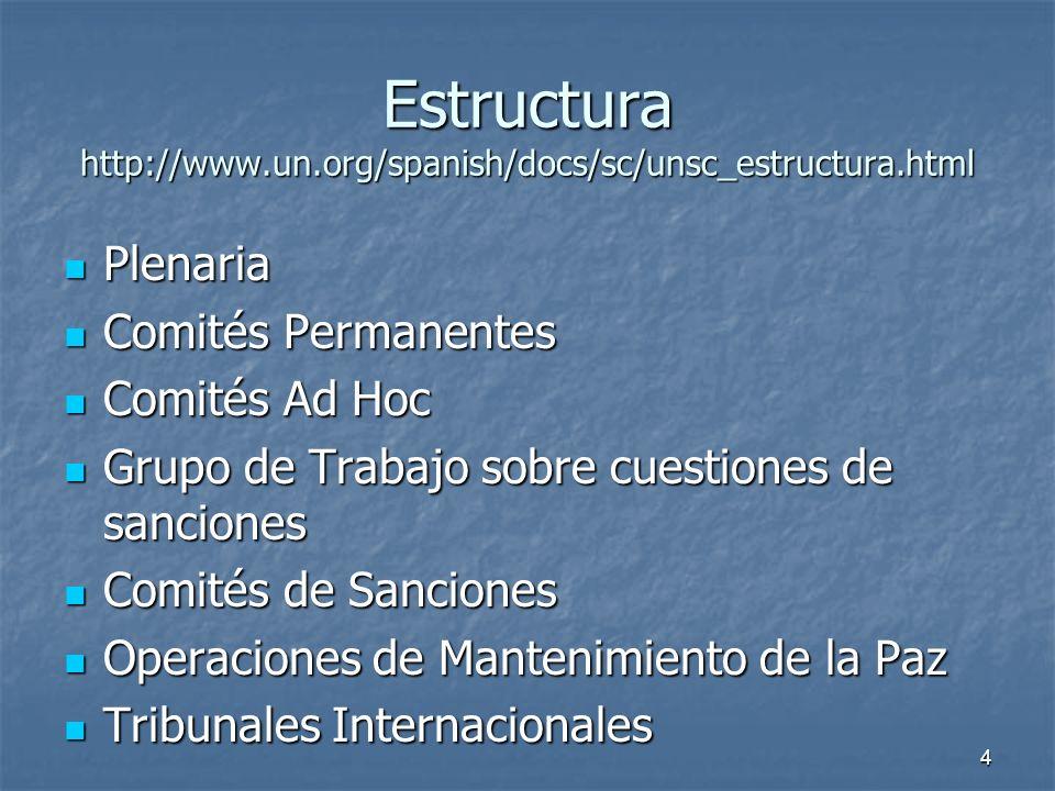 4 Estructura http://www.un.org/spanish/docs/sc/unsc_estructura.html Plenaria Plenaria Comités Permanentes Comités Permanentes Comités Ad Hoc Comités Ad Hoc Grupo de Trabajo sobre cuestiones de sanciones Grupo de Trabajo sobre cuestiones de sanciones Comités de Sanciones Comités de Sanciones Operaciones de Mantenimiento de la Paz Operaciones de Mantenimiento de la Paz Tribunales Internacionales Tribunales Internacionales