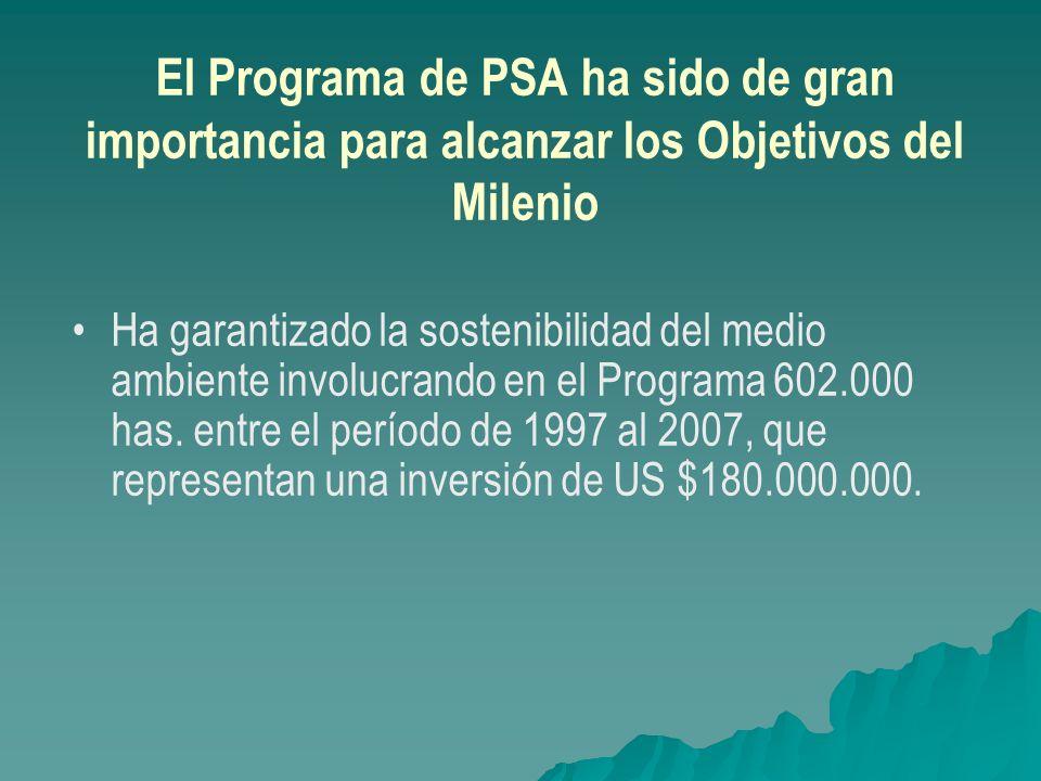 El Programa de PSA ha sido de gran importancia para alcanzar los Objetivos del Milenio Ha garantizado la sostenibilidad del medio ambiente involucrand