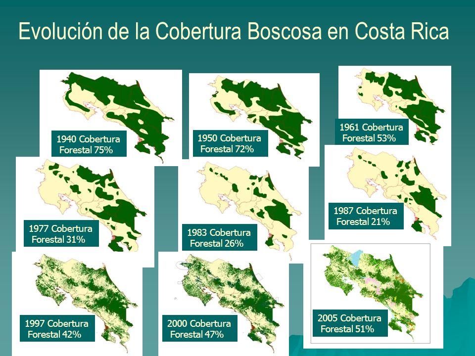 1950 Cobertura Forestal 72% 1940 Cobertura Forestal 75% Evolución de la Cobertura Boscosa en Costa Rica 1961 Cobertura Forestal 53% 1983 Cobertura For