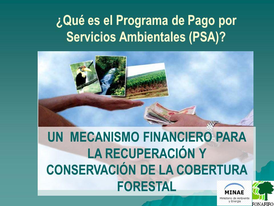 ¿Qué es el Programa de Pago por Servicios Ambientales (PSA)? UN MECANISMO FINANCIERO PARA LA RECUPERACIÓN Y CONSERVACIÓN DE LA COBERTURA FORESTAL