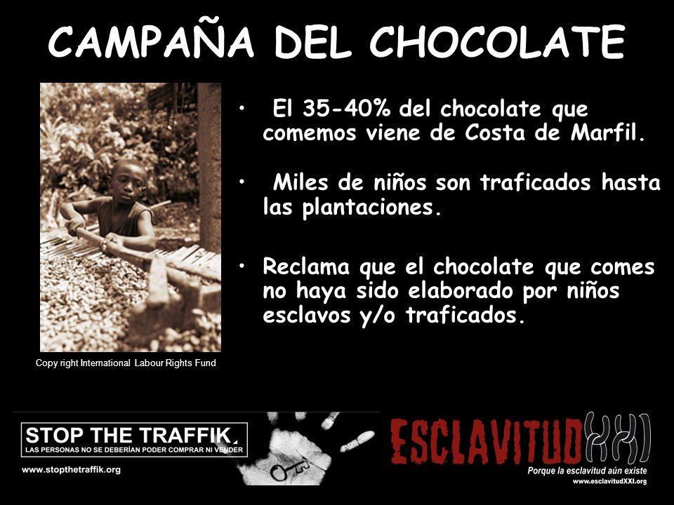 CAMPANYA DE LA XOCOLATA El 35-40% del chocolate que comemos viene de Costa de Marfil.