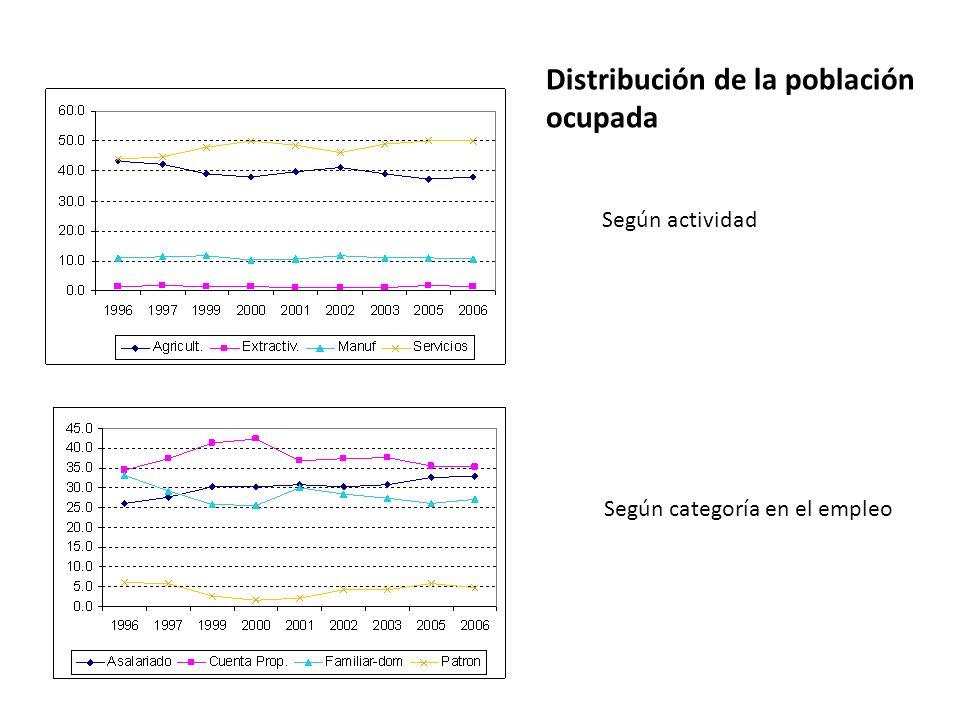 Distribución de la población ocupada Según actividad Según categoría en el empleo