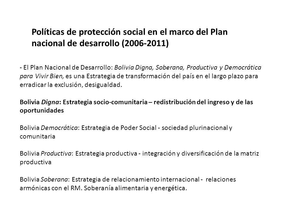 Políticas de protección social en el marco del Plan nacional de desarrollo (2006-2011) - El Plan Nacional de Desarrollo: Bolivia Digna, Soberana, Productiva y Democrática para Vivir Bien, es una Estrategia de transformación del país en el largo plazo para erradicar la exclusión, desigualdad.