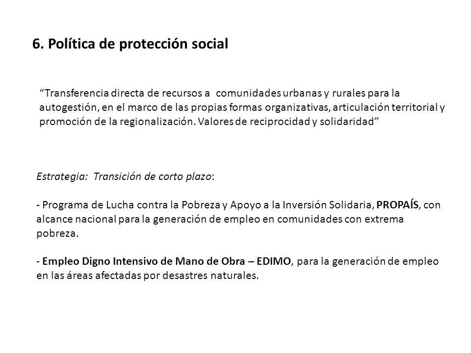 6. Política de protección social Estrategia: Transición de corto plazo: - Programa de Lucha contra la Pobreza y Apoyo a la Inversión Solidaria, PROPAÍ