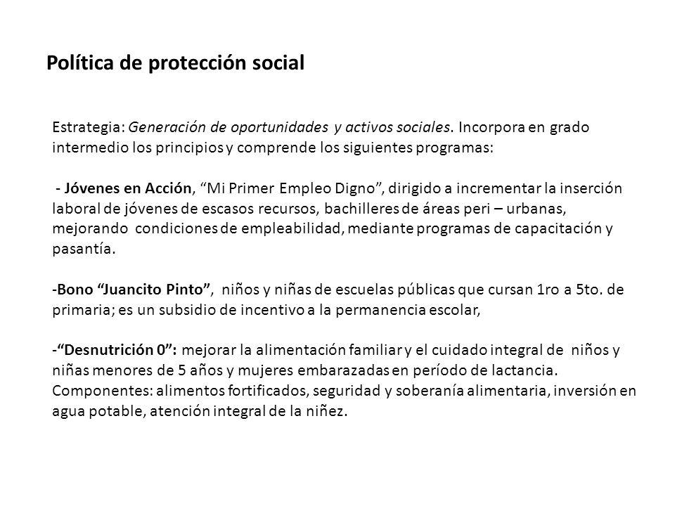 Política de protección social Estrategia: Generación de oportunidades y activos sociales.