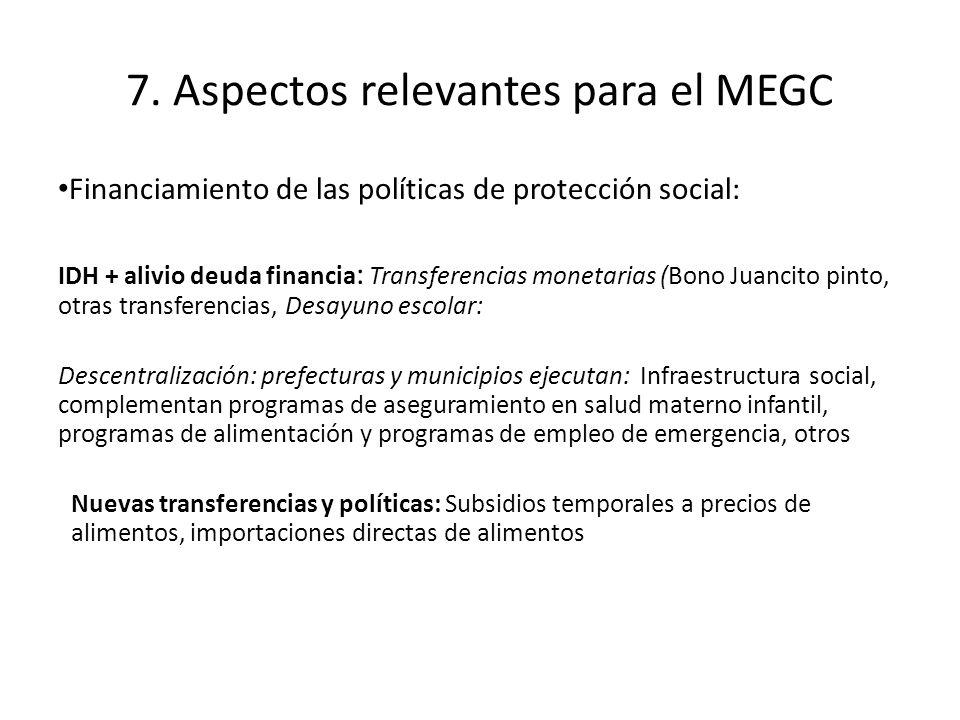 7. Aspectos relevantes para el MEGC Financiamiento de las políticas de protección social: IDH + alivio deuda financia : Transferencias monetarias (Bon